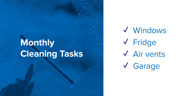 monthly cleaning task list