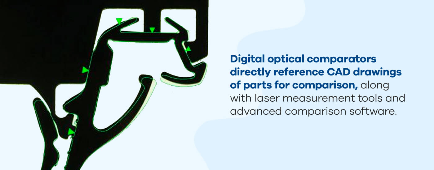 Digital optical comparators directly reference CAD drawings of parts for comparison