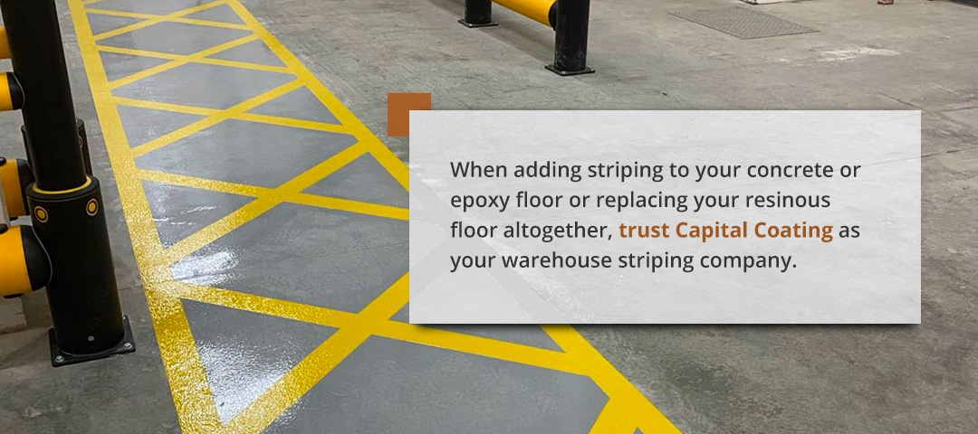 Floor in a warehouse with line striping