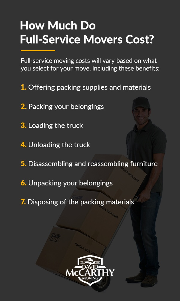 How much do Full-Service Movers cost? Full-Service moving costs will vary based on what you select for your move.