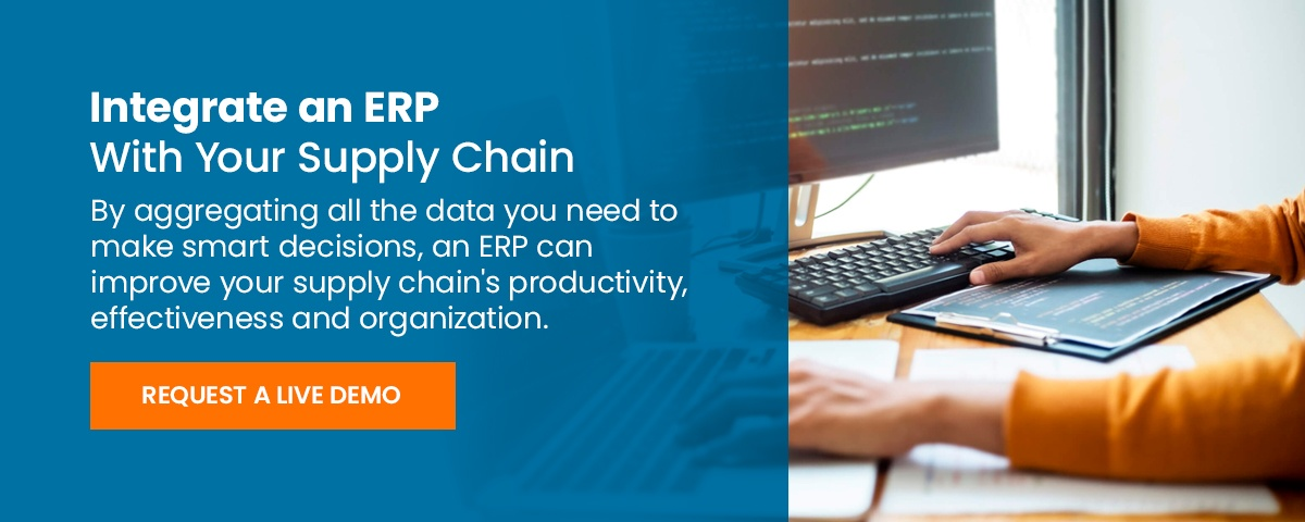 request a demo for an erp software solution integrated with your supply chain
