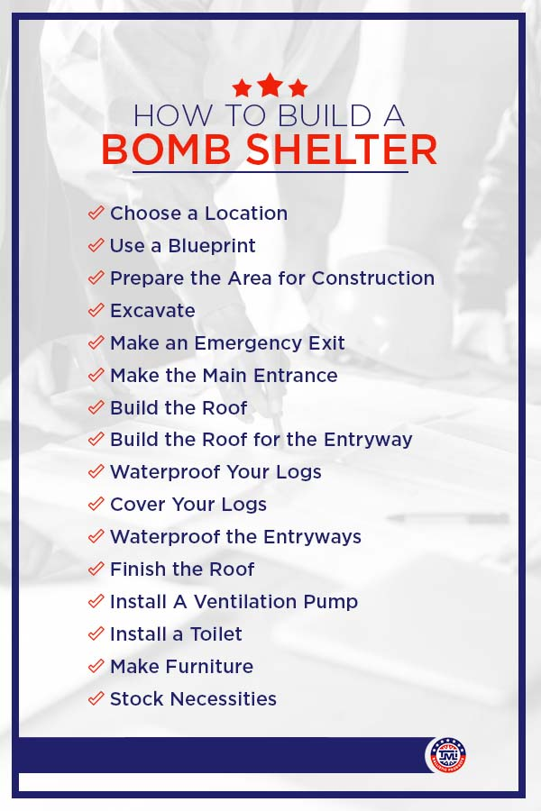 A step-by-step list of how to build a bomb shelter
